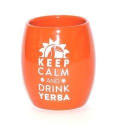 Matero ceramiczne Oval pomarańczowe KEEP CALM AND DRINK YERBA
