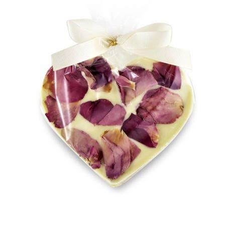 Cortez Serce z białej czekolady z płatkami róży